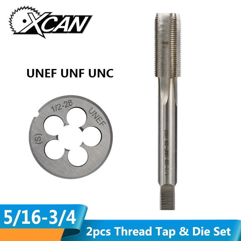 XCAN 2pcs UNEF UNF UNC Thread Tap And Die Set Machine Plug Tap High Speed Steel Metal Tapping Tool Set Screw Die Tap Drill
