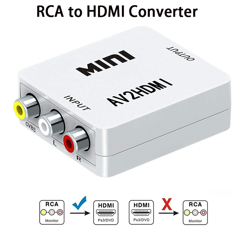 Convertidor RCA AV a HDMI alta calidad HD 1080P AV2HDMI adaptador para TV PS3 PS4 ordenador DVD proyector Xbox AV a HDMI convertidor