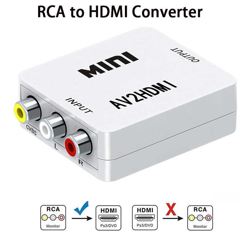 RCA AV Sang HDMI Chất Lượng Cao HD 1080P AV2HDMI Adapter Dành Cho Truyền Hình PS3 PS4 Máy Tính DVD Xbox Máy Chiếu AV Sang HDMI