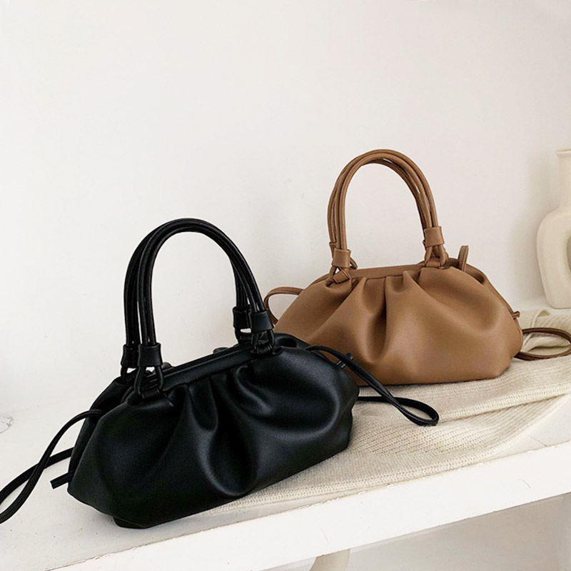 Ladys Leather Purse Luxury Handbags Women Bags Designer Clouds Hand Bag Solid Color Messenger Bag Femal Party Tote Dumplings