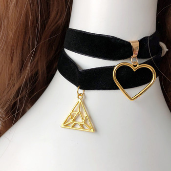 LOL KDA Ahri Akali cosplay necklace Comic Kaisa black choker with golden color heart decoration sexy black Triangle choker image
