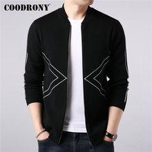 COODRONY Brand Sweater Coat Men Autumn Winter Thick Warm Knitted Wool Cardigan Streetwear Fashion Striped Zipper Coats 91090