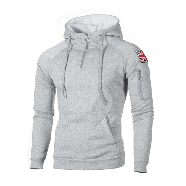 Zipper Hooded Sweatshirt Men 2019 Spring Casual Flag Print Pullover Hoodies Sweatshirts Male Patchwork Streetswear Tracksuit 3XL