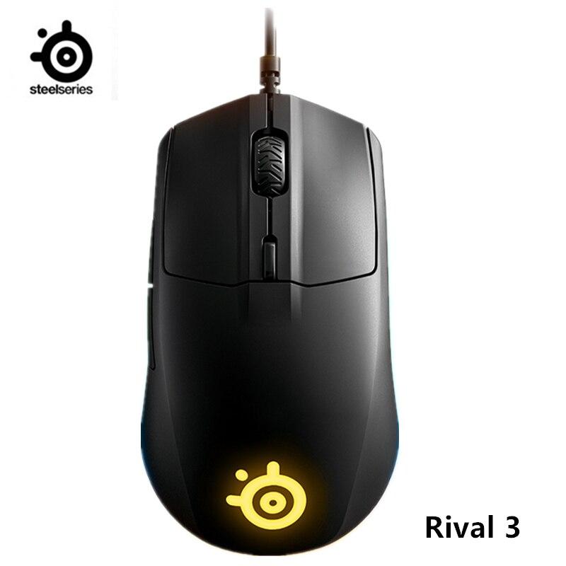 Игровая мышь SteelSeries Rival 3, 8500 CPI TrueMove Core, оптический сенсор, 6 программируемых кнопок, яркая призма, RGB-подсветка