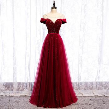 Elegancki O-Neck ślub panny młodej sukienka błyszczące cekiny suknia wieczorowa Temperament linii suknia bankietowa szczupła sukienka na studniówkę XS-3XL tanie i dobre opinie POLIESTER DROBNY WZÓR CN (pochodzenie) N2091706 Burgundy Navy Blue XS S M L XL XXL XXXL A-line Sleeveless None Sequins