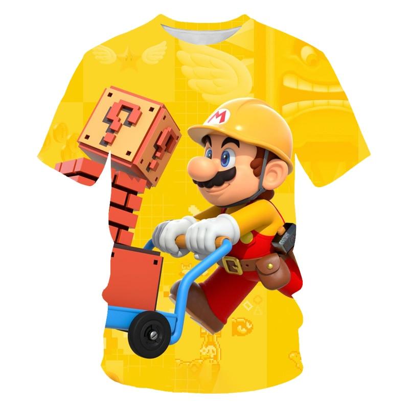 Summer new hip-hop Super Mario 3D printing men's O-neck short-sleeved T-shirt casual couple shirt street parent-child clothing