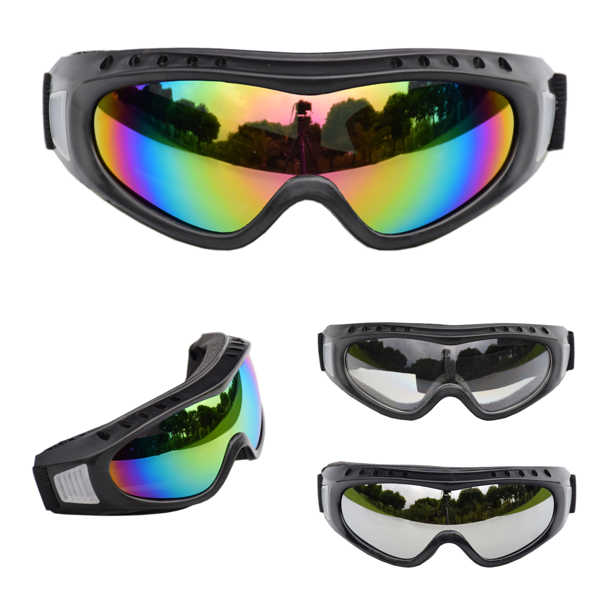 Ski Goggles Eyewear Anti-UV Windproof PC Lens Anti-fog Sand Protective Winter Youth Kids Sports Goggles Skiing Eyewear