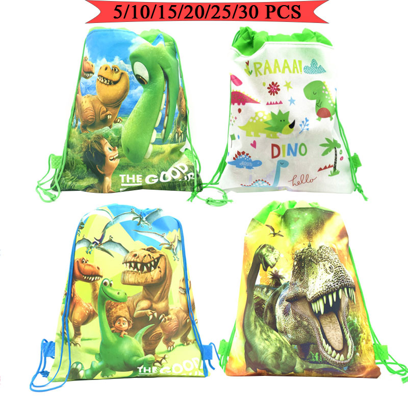 Party Bags For Kids Birthdays Non-Woven Drawstring Pouch Party Gift Bag Cartoon Dinosaur Theme Kids School Backpack Shipping Bag