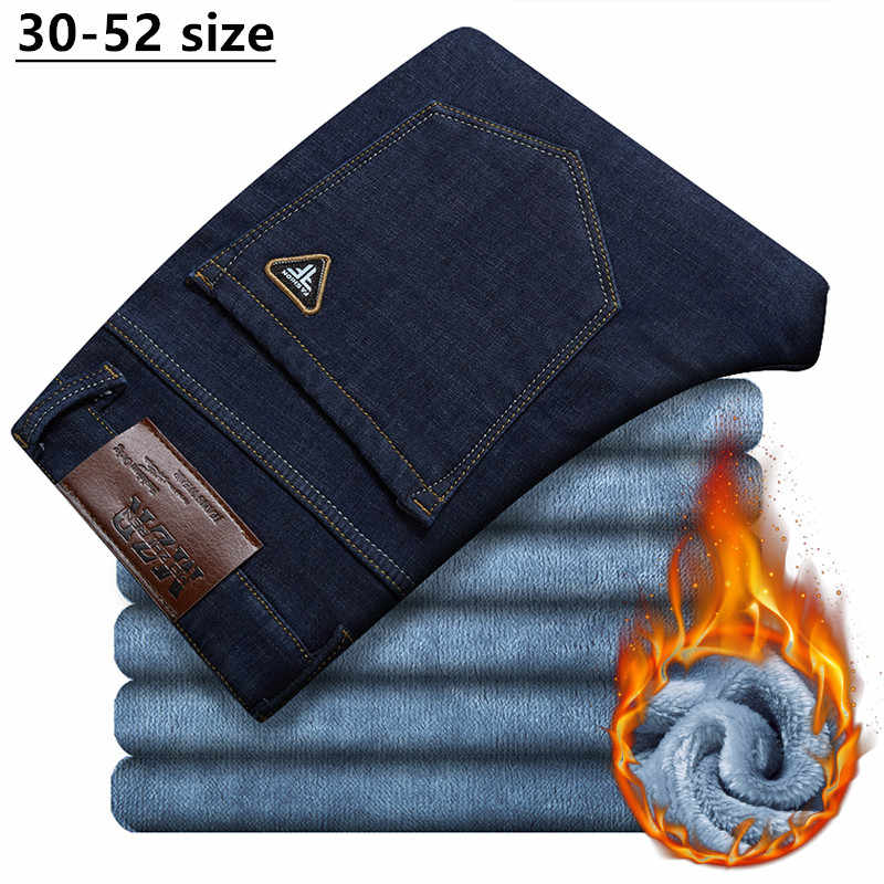 Plus Size 42 44 46 48 50 52 Men's Winter Warm Jeans Business Casual Blue Black Straight Loose Denim Trousers Male Brand Pants