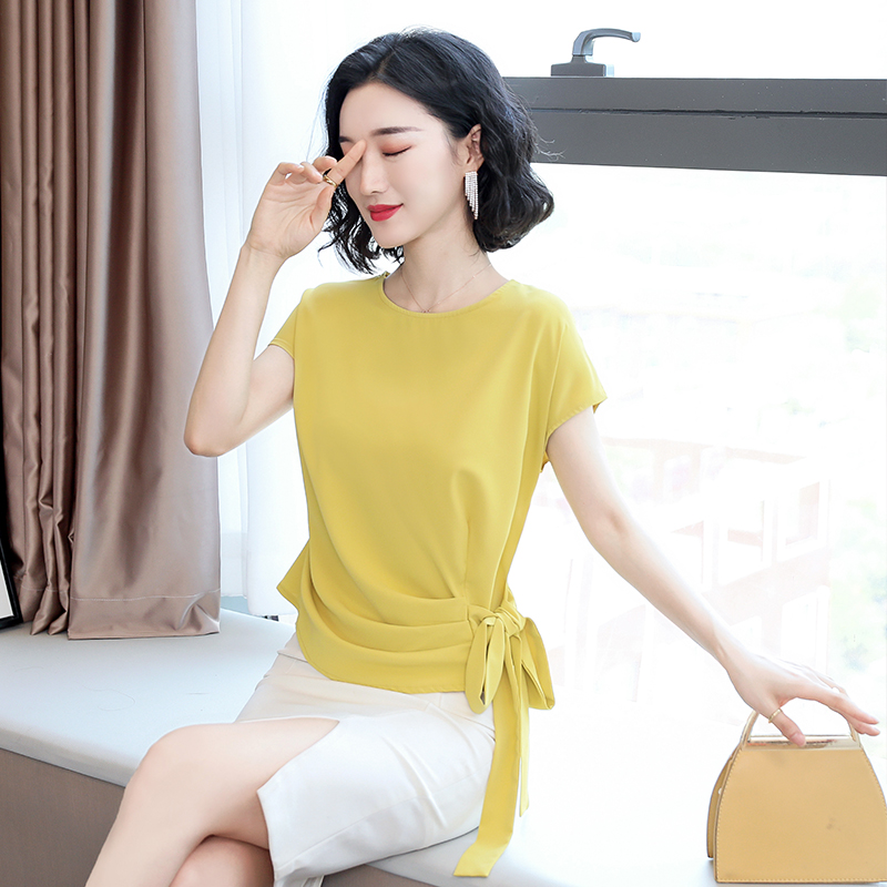 2021 Blusas Mujer De Moda Summer Silk Short-Sleeved Women's Blouse And Tops Office Lady Plus Size Solid Bow Shirts Women 9899 2