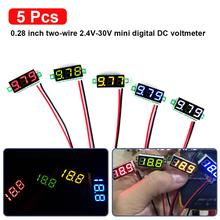 Auto parts 5pcs Mini Digital DC Voltmeter 0.28 Inch Two-Wire 2.5V-30V Voltage Tester Meter 5 Colours