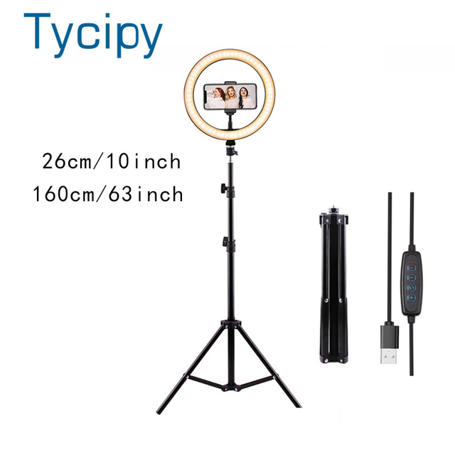 26cm LED Selfie טבעת אור מעגל למלא אור צילום RingLight Dimmable מנורת Trepied שולחן העבודה טלפון Stand מחזיק 1.6M חצובה