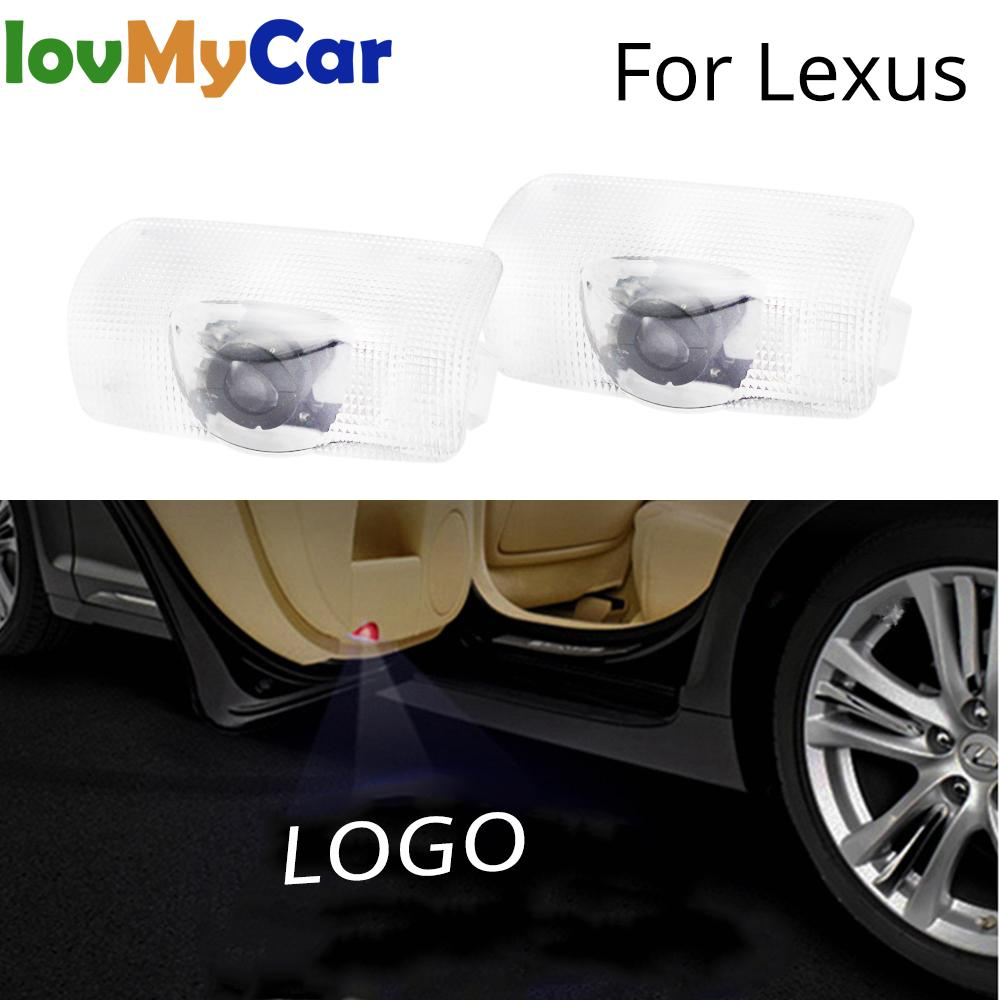 2X Welcome Light Projection Door Light For Lexus LS ES IS LX RX GS GX RC Car Led Logo Lights Projector Lamp DC 12V