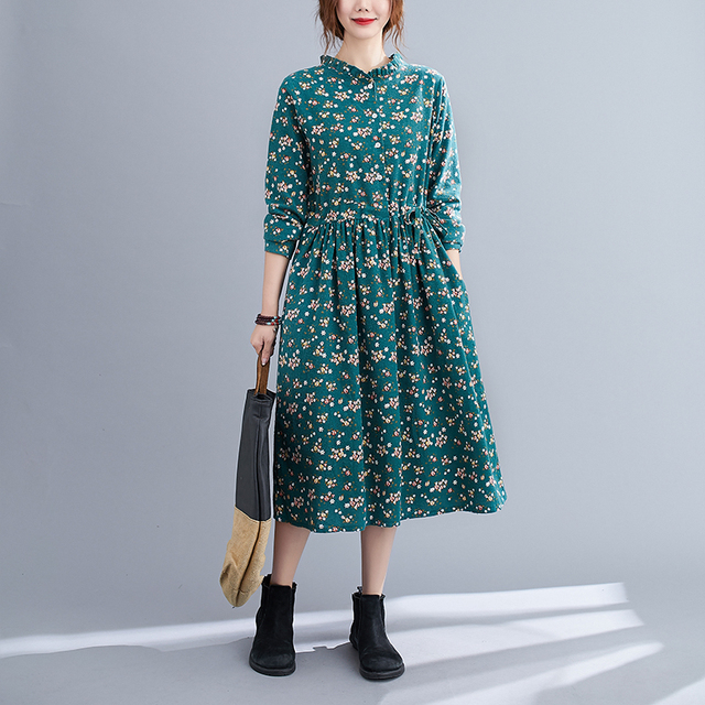 Uego Fashion Autumn Dress Linen Cotton Print Floral Prairie Chic Vintage Dress Drawstring Slim Women Casual Spring Midi Dress 6