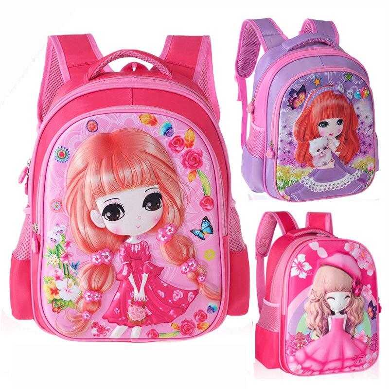 Cartoon Princess Braid Flower Cat Boy Girl Baby Kindergarten Nursery School Bag Bagpack Teenager Canvas Kids Student Backpacks
