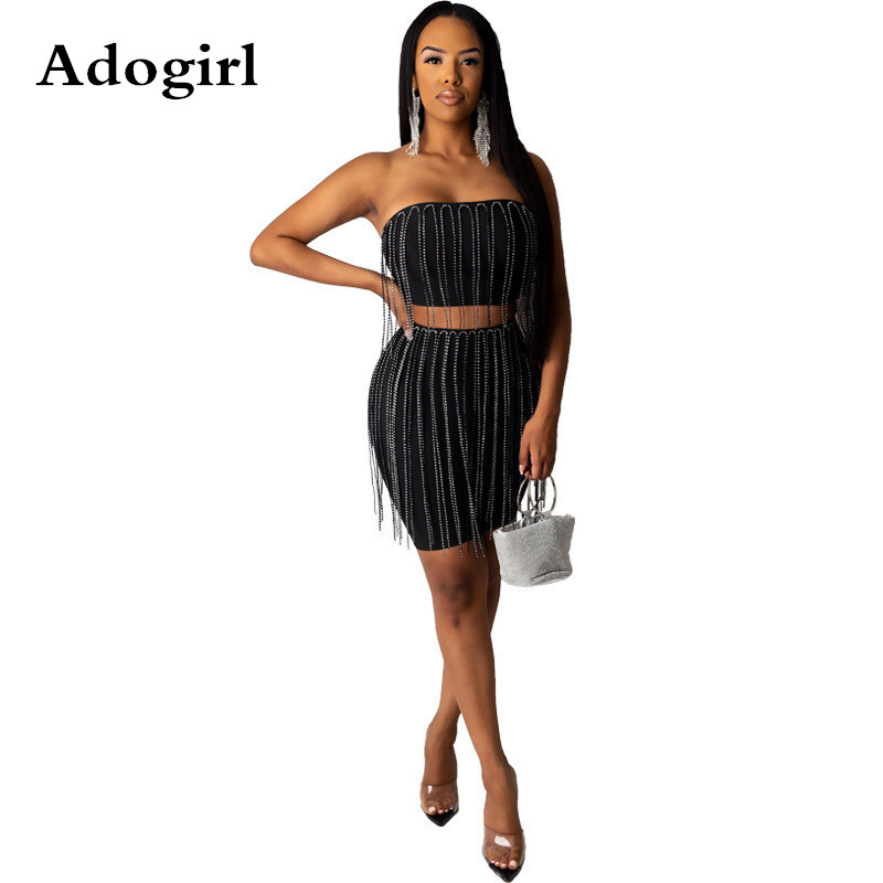 Shiny Crystal Diamond <font><b>Tassel</b></font> Two Piece <font><b>Set</b></font> <font><b>Skirt</b></font> Strapless Crop <font><b>Top</b></font> +Bodycon Mini <font><b>Skirt</b></font> Women Fashion Sexy Night Club Party Suit image