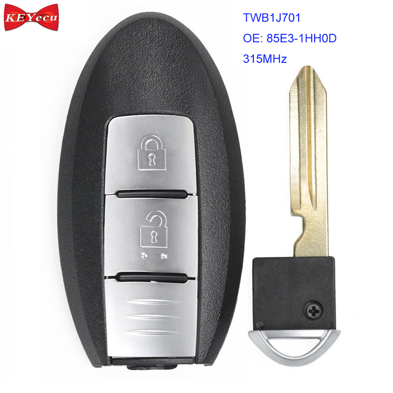 KEYECU for Nissan Micra K13 March K13 Leaf Remote Control Car Key Fob 315MHz Model Name: TWB1J701 ID46 Chip