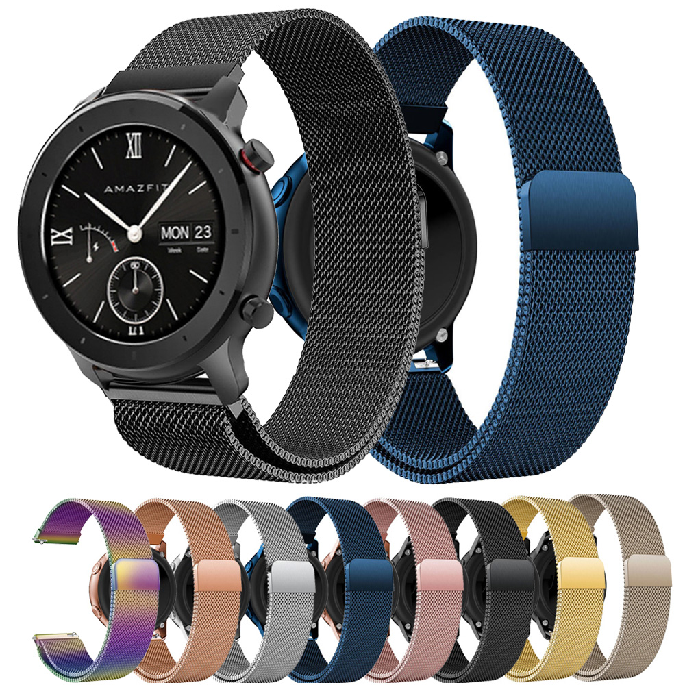 Milanese Loop Magnetic Strap Band For Huami Amazfit GTR 42mm Amazfit BIP Watchband Band Stainless Steel Bracelet Wristband 20MM