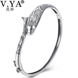 Image 2 - V.YA Thai Silver Vintage Bangles Fish Bracelets for Women 925 Sterling Silver Jewelry Unique Toggle clasps Design 56MM
