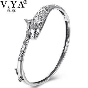 Image 2 - V.YA brazaletes Vintage de plata tailandesa para mujer, brazaletes de peces para mujer, joyería de plata de ley 925, diseño único de cierres de palanca de 56MM