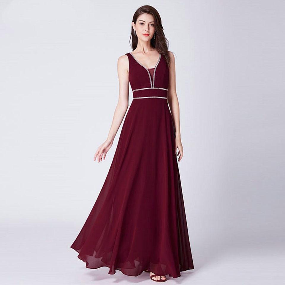 Dressv Burgundy V Neck Elegant Evening Dress A Line Zipper Up Sleeveless Wedding Party Formal Dress Evening Dresses