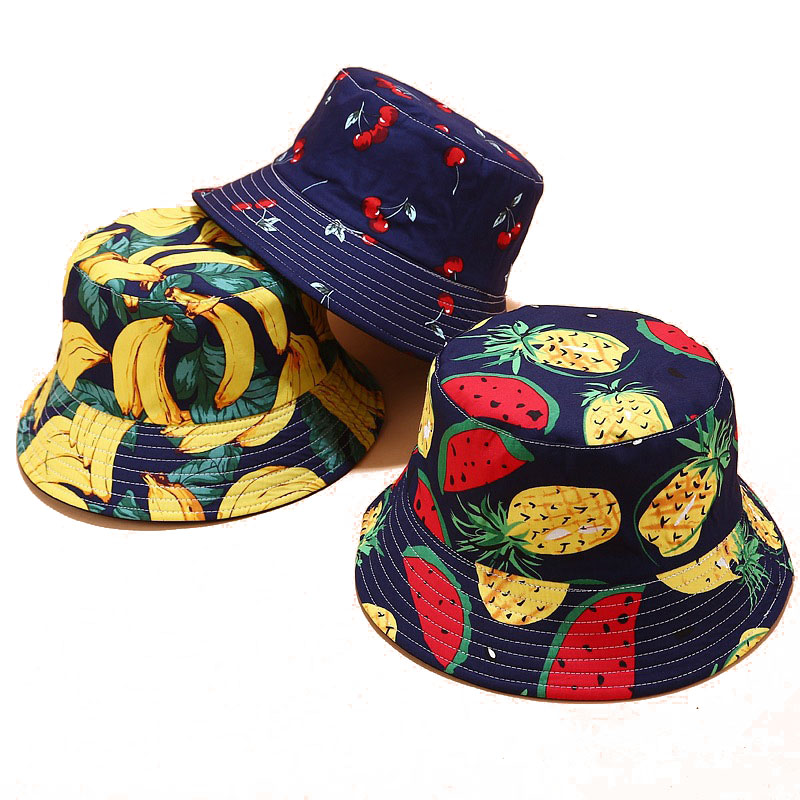 Women Men Panama Summer Reversible Bucket Hat Harajuku Hip Hop Bucket Cap Fruit Pineapple Banana Watermelon Print Fisherman Hat