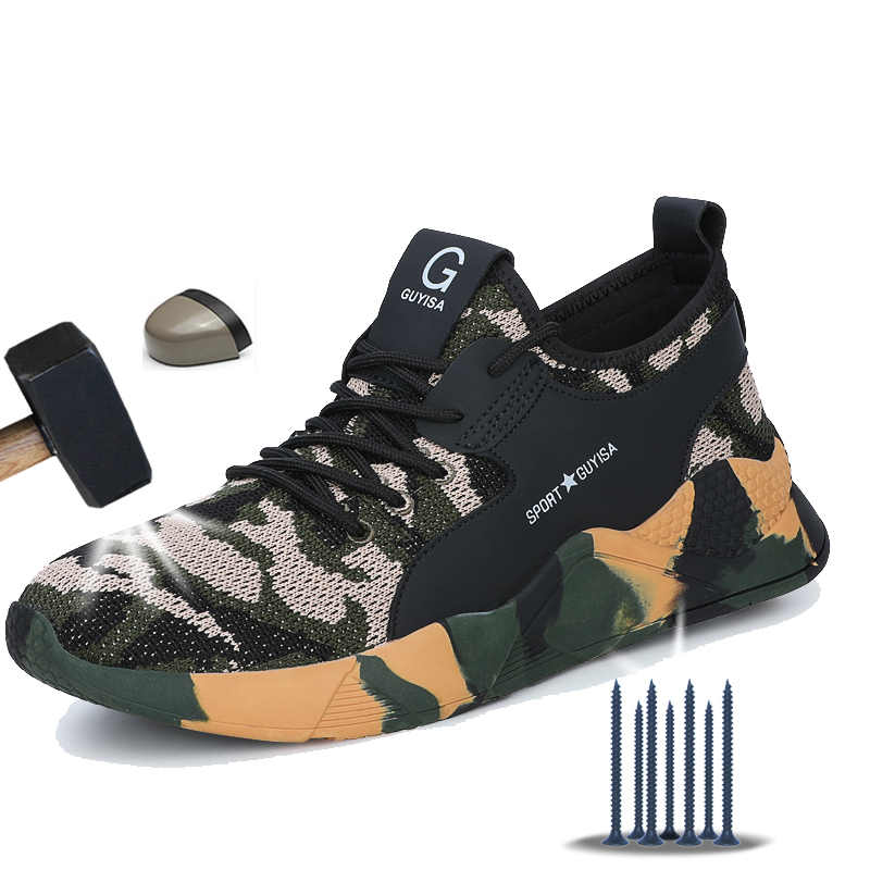 Manlegu novo 36-48 sapatos de segurança de pouco peso homens de aço toe botas de segurança anti-piercing respirável sapatos de trabalho homem segurança
