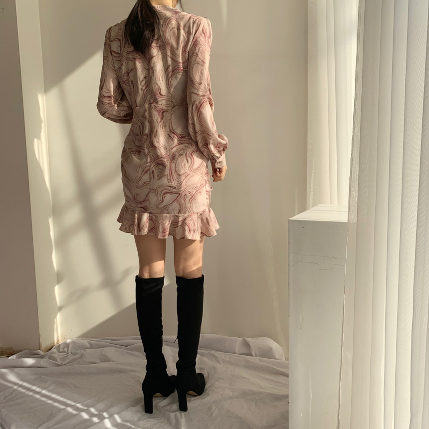 Hed15d005b9814e9394ce66e6f47809fbL - Autumn V-Neck Long Sleeves Chiffon Drawstring Abstract Print Mini Dress