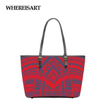 WHEREISART Women Bag Polynesian Traditional Pattern Womens Leather Handbags Luxury Lady Hand Bags Big Tote Bolsos