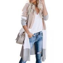 Длинное мягкое вязаное повседневное пальто с длинным рукавом женский кардиган свитер осень тонкий Открытый спереди размера плюс Модная легкая верхняя одежда