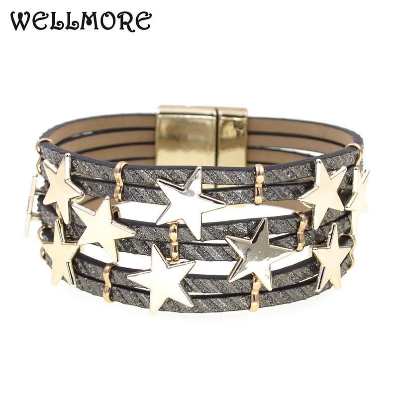 WELLMORE trendy women bracelet leather bracelets for women Metal stra charm bracelet fashion female jewelry wholesale