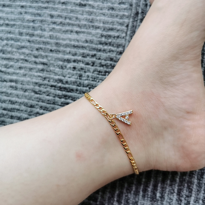 Zircon Initial Letter Anklets for Women Gold Chain Crystal A-Z Alphabet Anklet Bracelet Boho Foot Jewelry Gift Accesorios Mujer