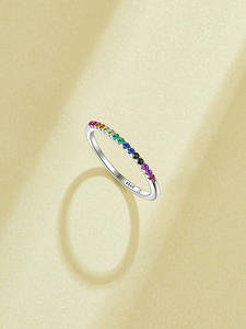 Silver Rings Gifts Fine-Jewelry Finger Rainbow-Color Wedding-Sterling-Silver Girls Friends