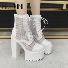 NIUFUNI Fashion Ankle Strap Mesh Women Autumn Boots Slim Zipper Platform High Heels Model Footwear Shoes For Women Botas mujer 2016 real image camouflage fashion boots cheap custom made high thin heels buckle strap zapatos mujer botas mujer ankle boots