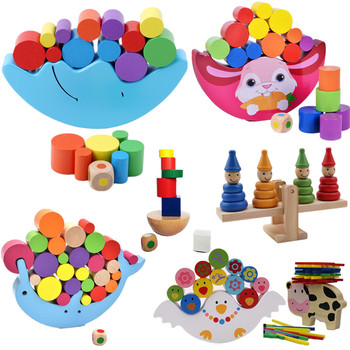Baby Early Learning Toy Wood Moon Balancing Educational Toys Building Blocks Kids Children Balancing Toy Wooden Toys Balancing B nfstrike upgraded electronic building blocks diy toy assembled bricks toy circuits baby kids early educational development toys