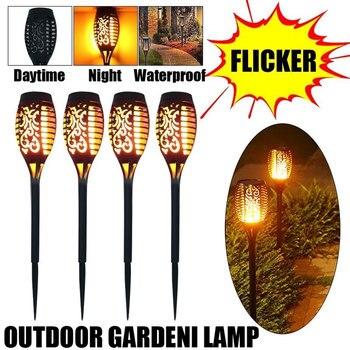 цена 4Pcs Solar Flame Lamp 96 LED Flickering Waterproof Garden Flicker Lights Landscape Decoration Lawn Light Torch Outdoor Spotlight онлайн в 2017 году