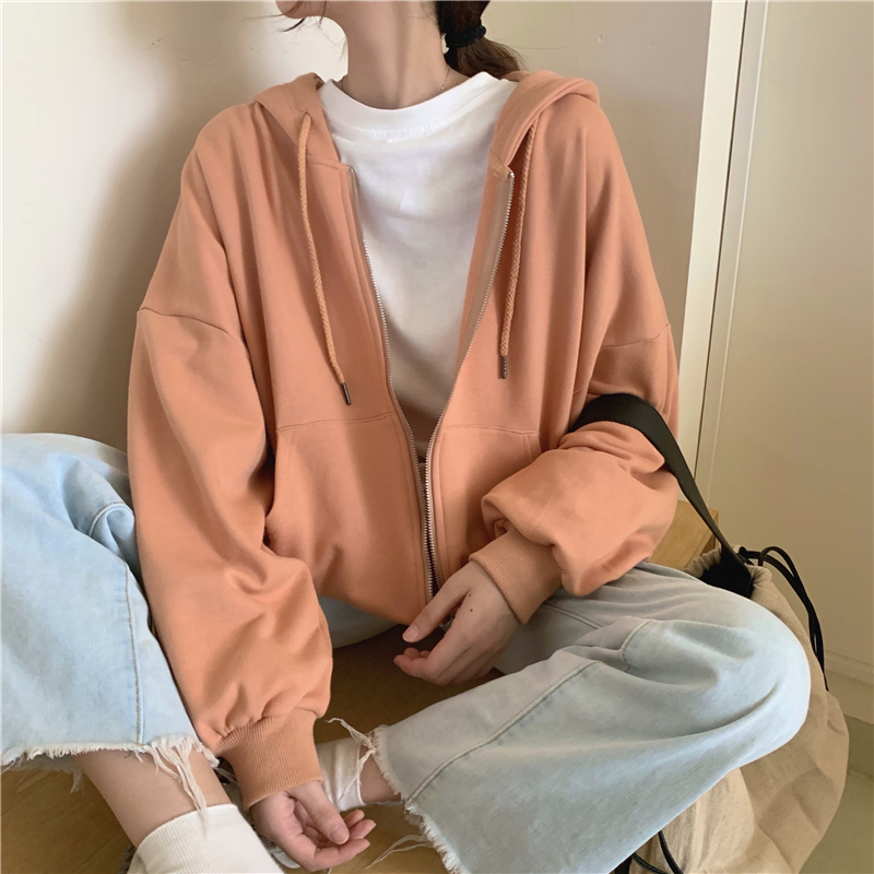 Hoodies Women Zip-up Turn-down Collar Printed Pocket Long Sleeve Korean Style New Trendy Casual BF Ulzzang Harajuku Womens Daily 1