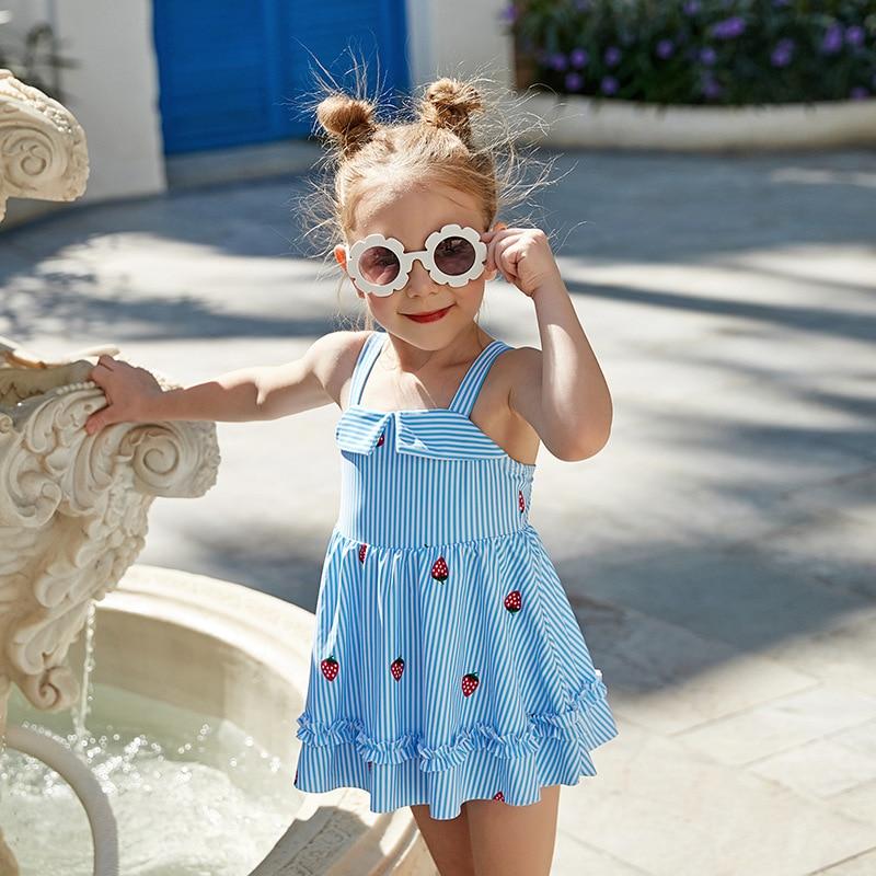 2019 New Style Miss Sunshine Swimwear Fashion Cartoon Strawberry Stripes Children Women's Beach Hot Springs KID'S Swimwear