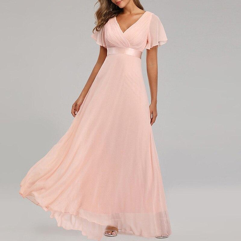 YULUOSHA Burgundy Bridesmaid Dresses Ruffles Floor-Length Long Party Dress Chiffon Dress Bridesmaid Dress Vestido De Festa