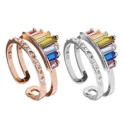 Coroa arco-íris anéis de abertura ajustável strass anel de noivado para mulheres jóias de casamento presente moda coroa arco-íris anéis