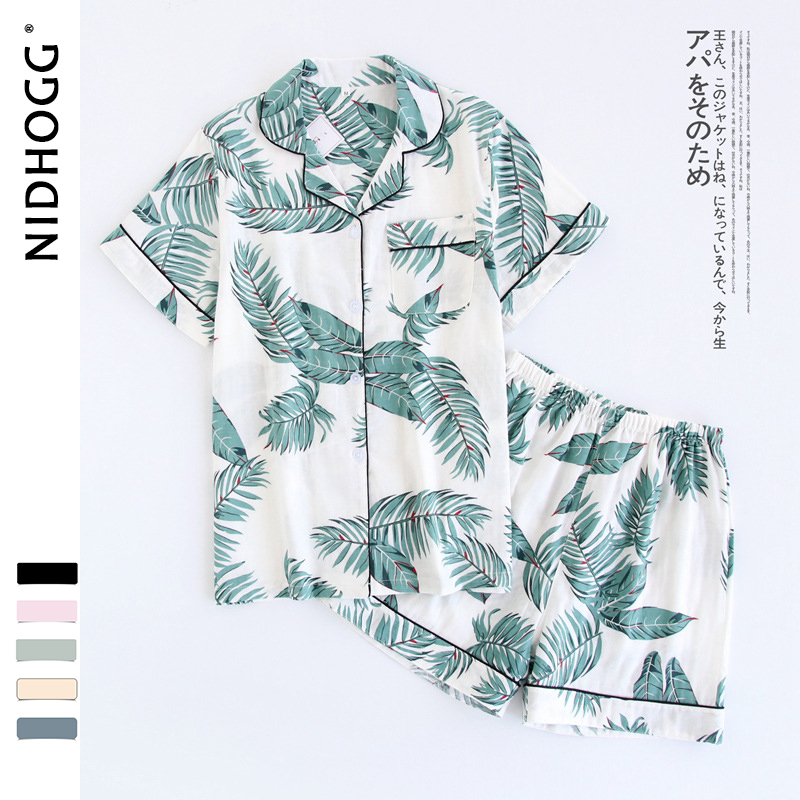 Women 100% Cotton Short Sleeves Ladies Pajama Sets Shorts Cute Cartoon Sleepwear Japanese Simple Short Pyjamas Womens Homewear