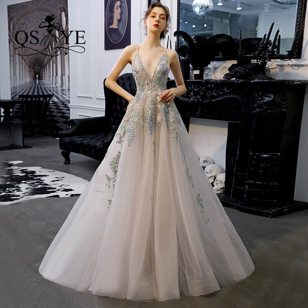 QSYYE2019 Long Prom Dresses Tulle V-neck Spaghetti Strap Backless Appliques Beading Floor Length Formal Evening Dress Party Gown