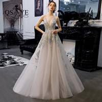 QSYYE2019 Long Prom Dresses tulle v neck spaghetti strap backless appliques Beading Floor Length Formal Evening Dress Party Gown