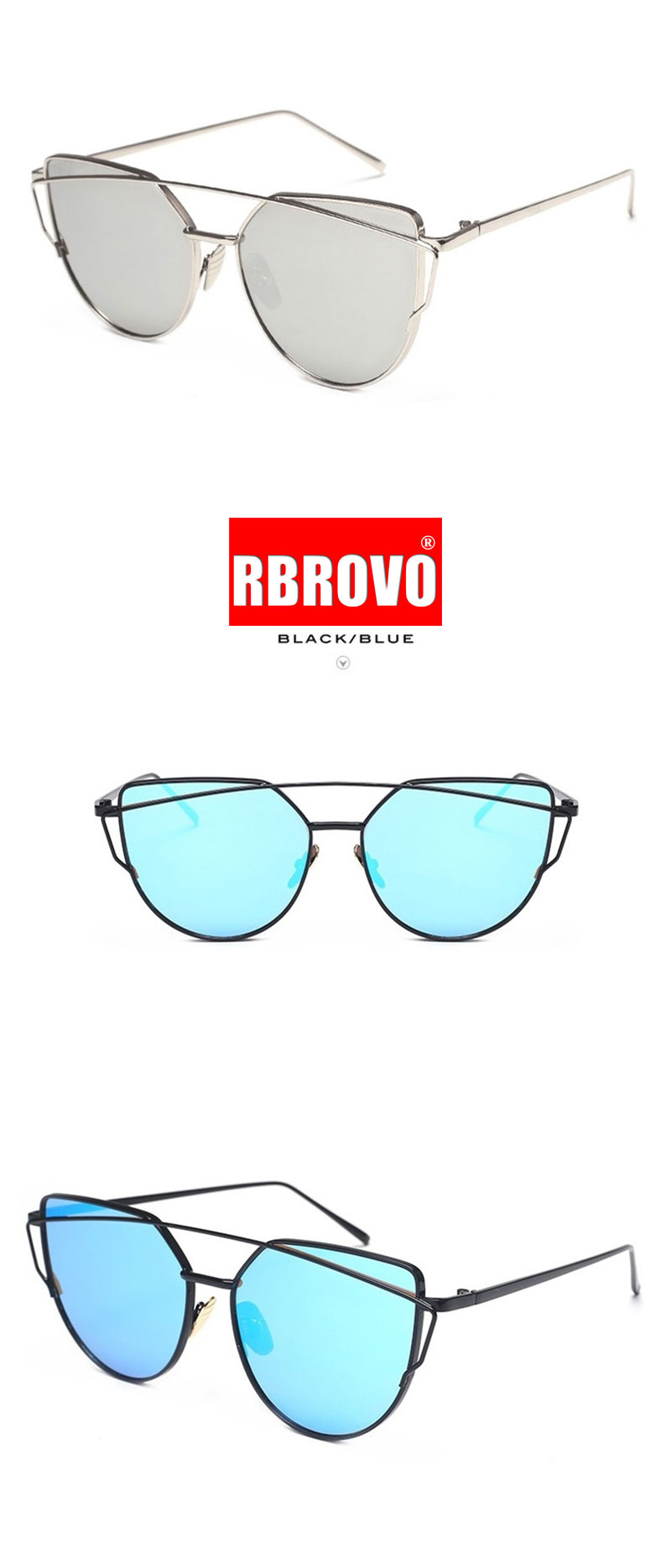 RBROVO 2020 Brand Designer Cat Eye Sunglasses Women Vintage Metal Reflective Glasses For Women Mirror Retro Oculos De Sol Gafas