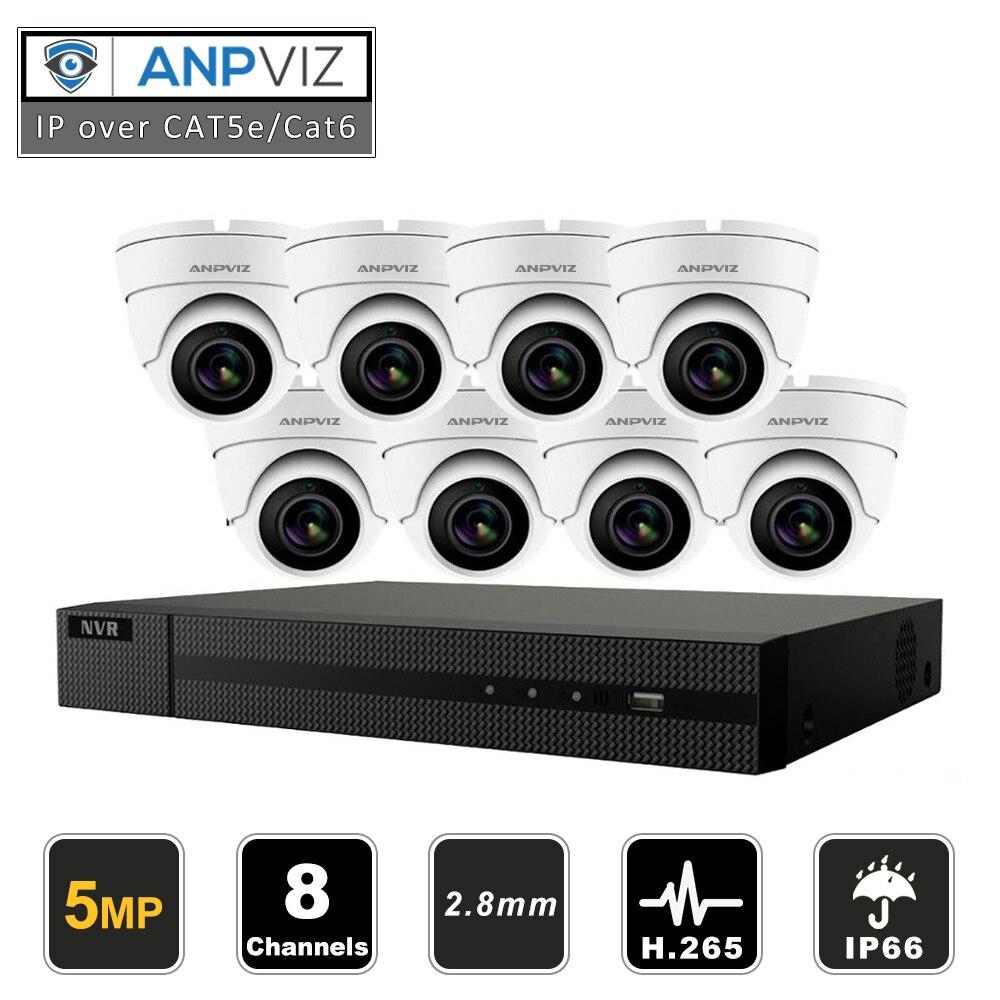 Güvenlik ve Koruma'ten Gözetim Sistemi'de Anpviz 8CH HIKVISION H.265 + NVR 5MP açık kapalı güvenlik POE IP kamera CCTV sistemi kiti IP kamera Video gözetim NVR kiti title=