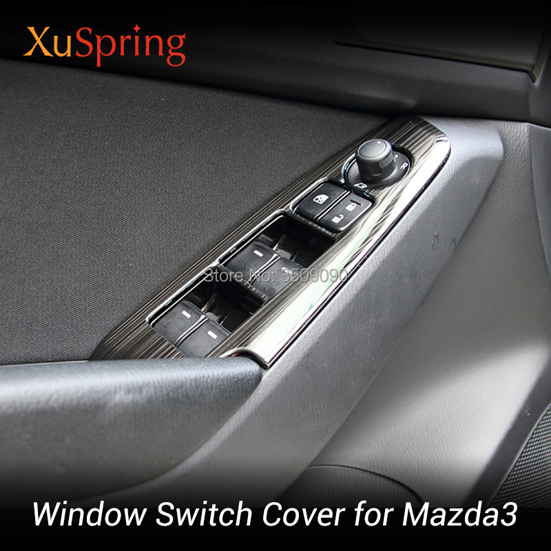 For Mazda3 Mazda 3 Axela 2014-2019 LHD BM/BN Car Window Switch Adjustment Knob Panel Cover Trim Stickers Strips Garnish Styling