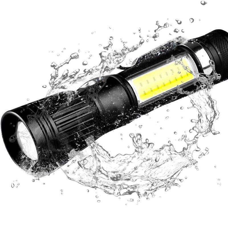 T6/L8 Torch Powerful Flashlight LED Rechargeable Flashlights Lantern 18650 COB Dual Light USB Zoomable Flashlight Nitecore