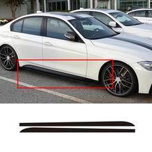 2 шт. автомобильные наклейки Черный/углеродное волокно черный авто боковые юбки подоконник полосы тела наклейки для BMW 1 3 4 5 6 серии F30 F35 F31