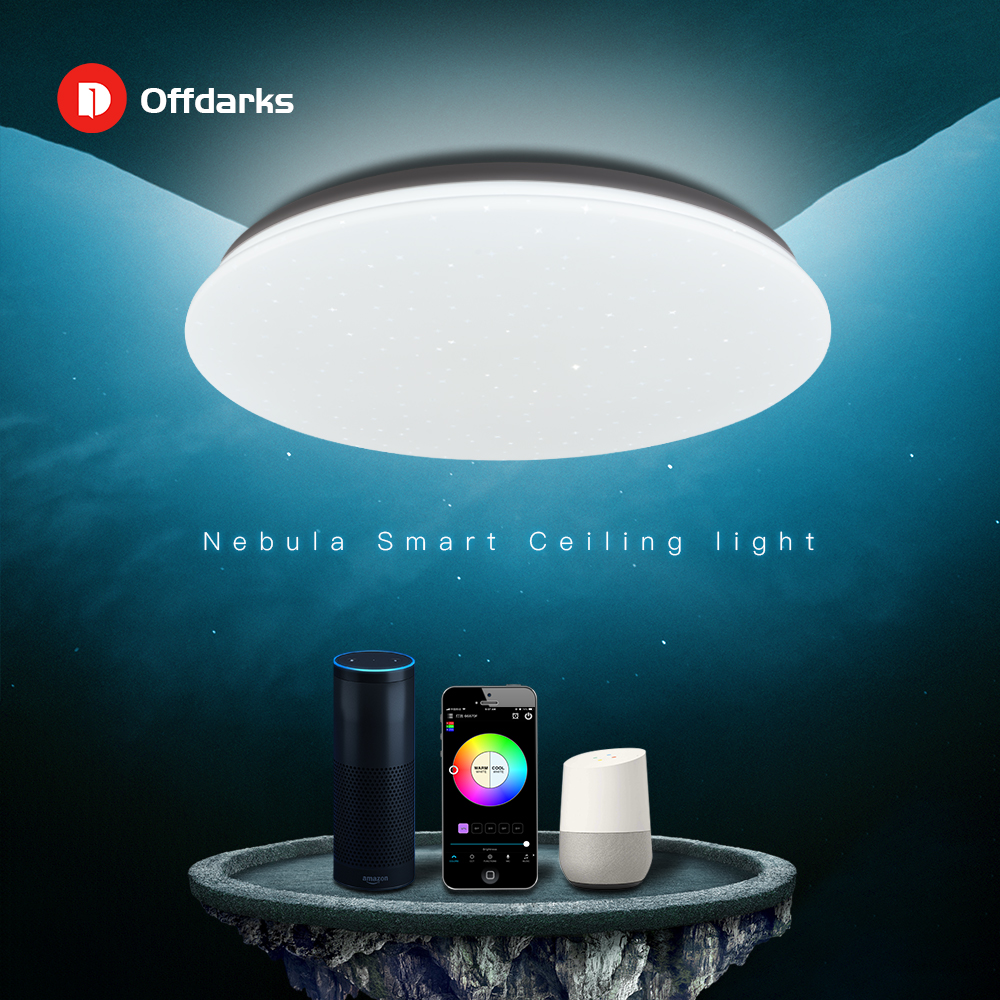 OFFDARKS Modern LED Smart Ceiling Light 48W WiFi / APP Smart Control RGB Dimming Bedroom Kitchen Ceiling Lamp 220V/AC