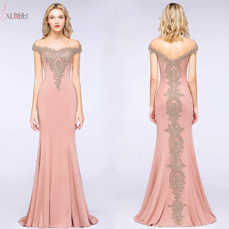 Rose Gold Mermaid Long Evening Dress 2019 Elegant Formal Gown Lace Applique Off The Shoulder Sleeveless Robe De Soiree